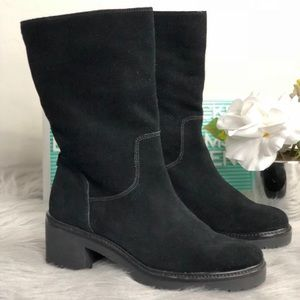 Michael Kors Black Suede Rugged Sole Heeled Boot